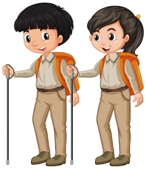 Boy and girl in scout outfit hiking on white