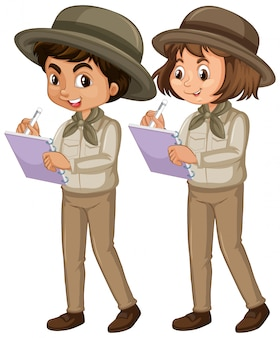 Boy and girl in scout uniform isolated