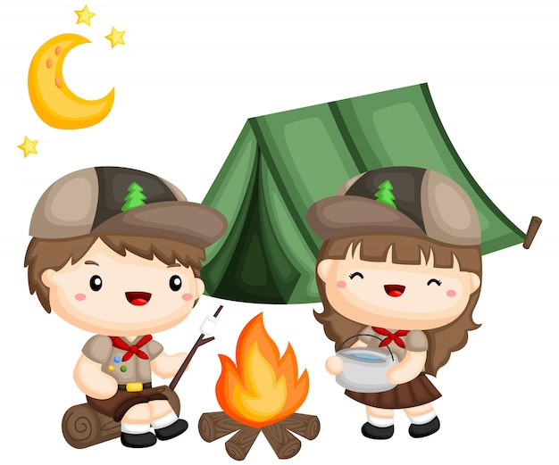 A boy and girl scouts cooking outside the tent