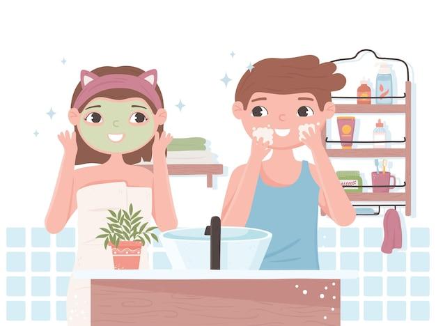 男の子女の子スキンケアルーチンバスルーム