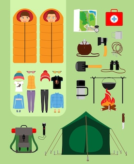 Boy and girl in sleeping bags next to tent with campfire and backpack. facilities for tourism, recreation, survival in the wild. vector illustration