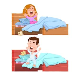 Boy and girl sleeping, woke up in bed yawning after sleep - cartoon character