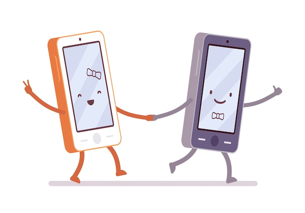 Boy and girl smartphones are walking holding a hand