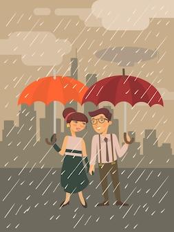 Boy and girl standing under umbrella illustration