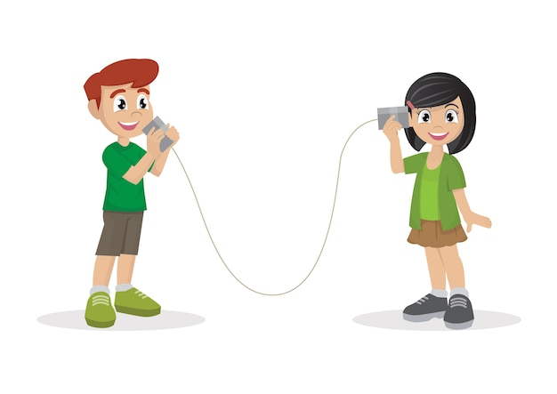 Boy and girl talking with can telephone.