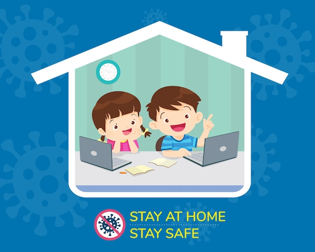 Boy and girl using technology gadget in house icon