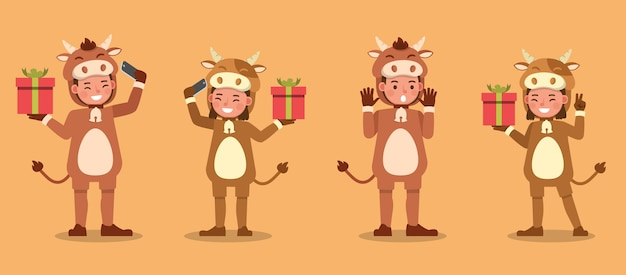 Boy and girl wearing cow costumes character. presentation in various action with emotions.