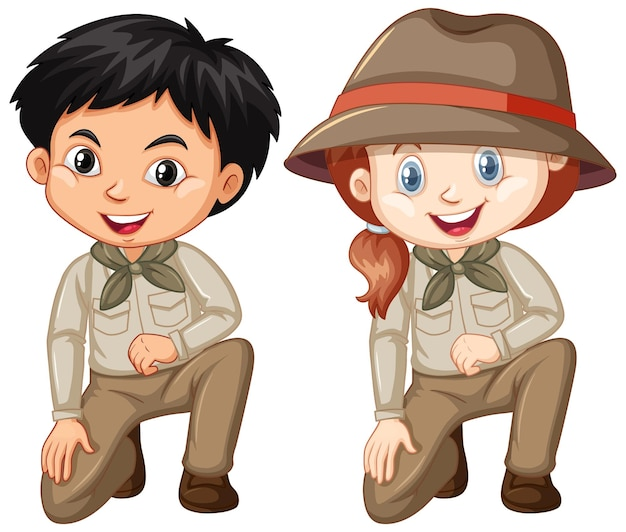 Boy and girl wearing safari outfit