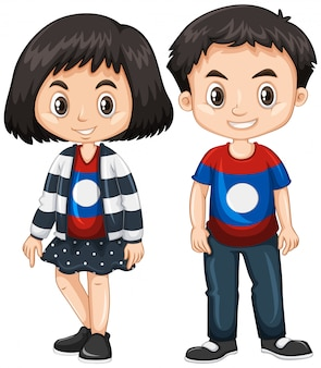 Boy and girl wearing shirt with laos flag