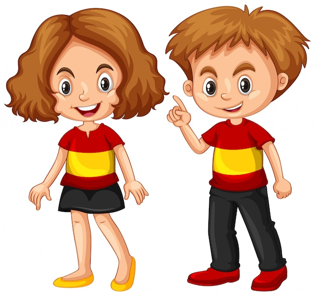 Boy and girl wearing shirt with spain flag