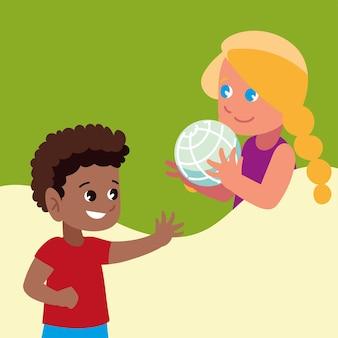 Мальчик девочка с мячом