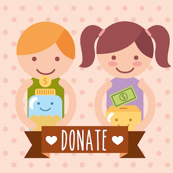 Boy and girl with box and jar coins donate charity