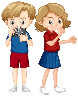 Boy and girl with camera on white background