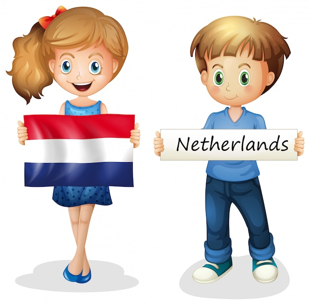 Boy and girl with flag of netherlands