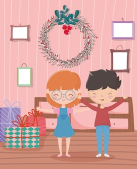 Boy and girl with gifts wreath frames living room merry christmas celebration