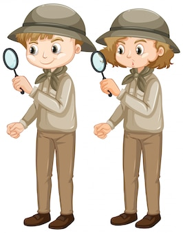 Boy and girl with magnifying glass on white