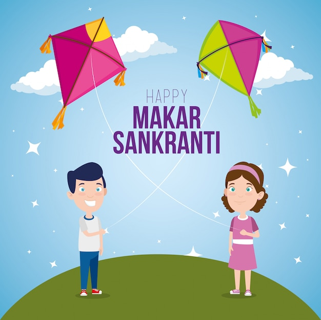 Boy and girl with makar sankranti kites
