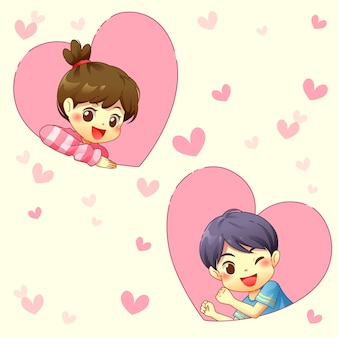 Boy and girl with pink heart