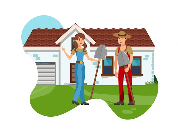 Boy and girl with shovels flat vector illustration