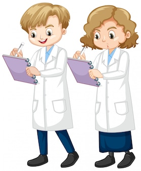 Boy and girl writing science note on white background