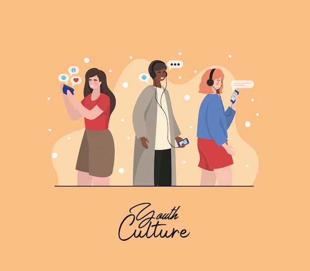 Boy and girls with smartphones and bubles design, youth culture people cool person human profile and user theme