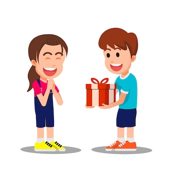 A boy gives a gift to his happy friend