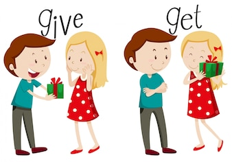 Boy giving and girl getting