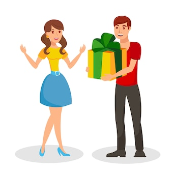 Boy giving gift to girl flat vector illustration
