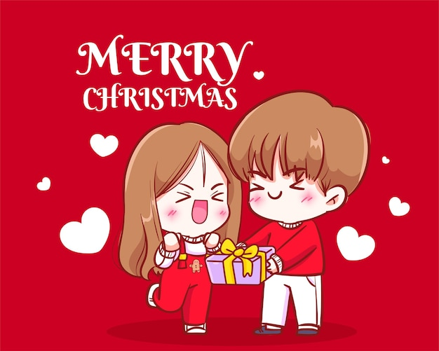 Boy giving presents to girl on christmas holiday celebration hand drawn cartoon art illustration