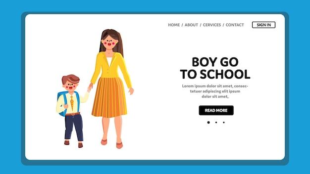 Мальчик идет в школу с вектором рюкзак. симпатичный маленький школьник идет в школу, первый день образования. персонажи мать женщина ведущий сын на уроке образования веб-плоский мультфильм иллюстрации