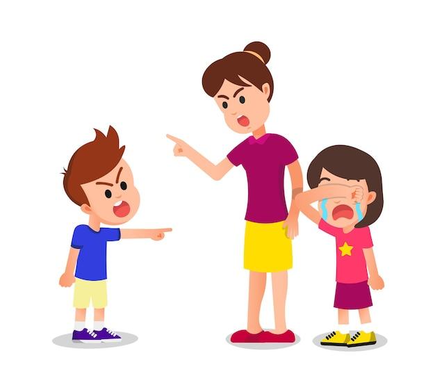 소년은 여동생을 울려서 문제에 빠졌습니다.
