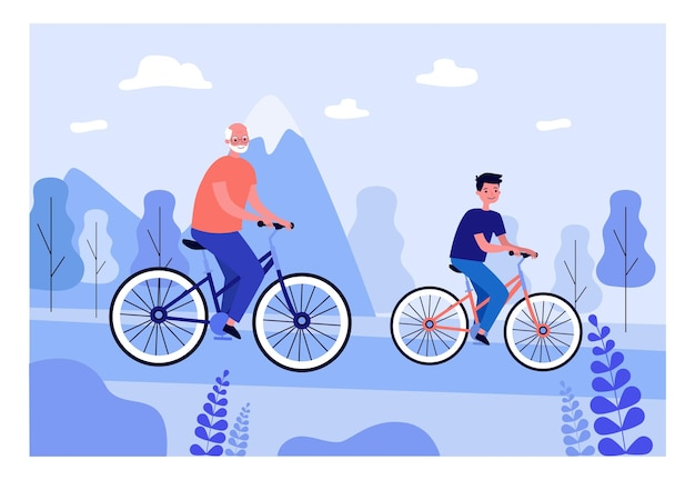 Boy and grandfather cycling together