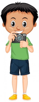 Boy in green shirt with digital camera on white