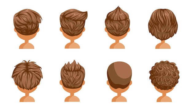 Boy hair rear view set. head of a little boy. cute  hairstyle.variety  child  modern fashion for assortment. long , short , curly hair. salon hairstyles and trendy haircut of male.