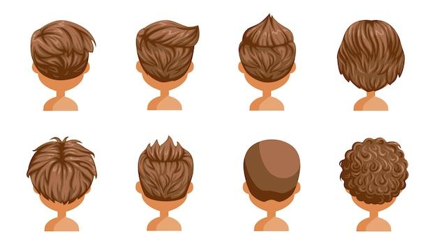 소년 머리 후면보기 설정합니다. 어린 소년의 머리. 귀여운 헤어 스타일. 다양한 어린이를위한 다양한 패션. 길고 짧고 곱슬 머리. 살롱 헤어 스타일과 남성의 유행 머리.