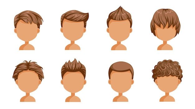 Boy hair set. face of a little boy. cute  hairstyle.variety  child  modern fashion for assortment. long , short , curly hair. salon hairstyles and trendy haircut of male
