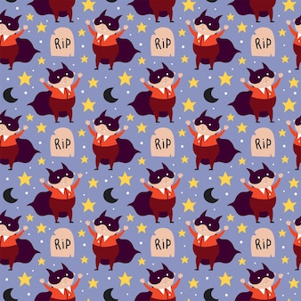 Boy in halloween dracula vampire costume tombstone moon day of dead holiday seamless pattern