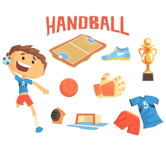 Boy handball player, kids future dream professional sportive career illustration with related to profession objects