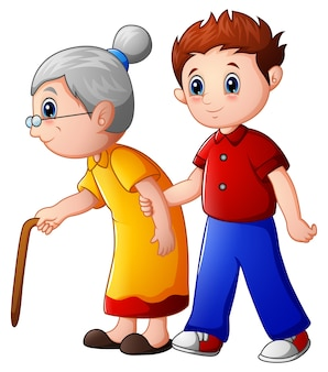 Мальчик помогает старухе и помогает ей ходить с тростью