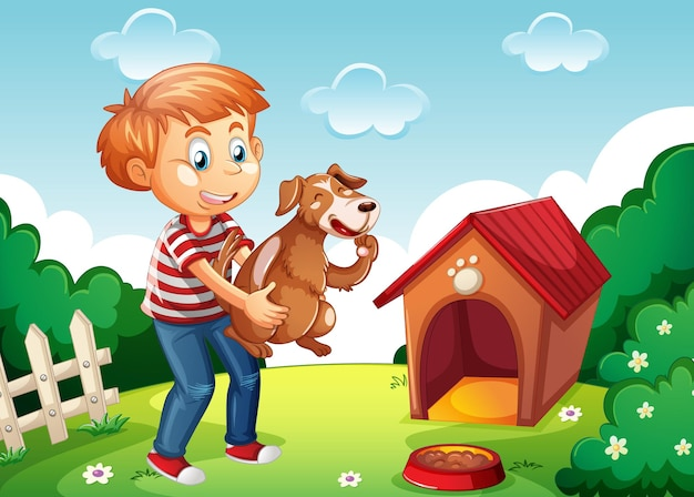 Мальчик держит собаку в природе сцена белая конура