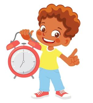 Мальчик держит будильник клипарт