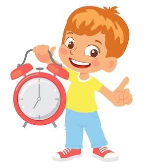 Boy holding alarm clock vector clipart