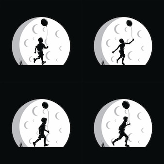 A boy holding balloon with moon background