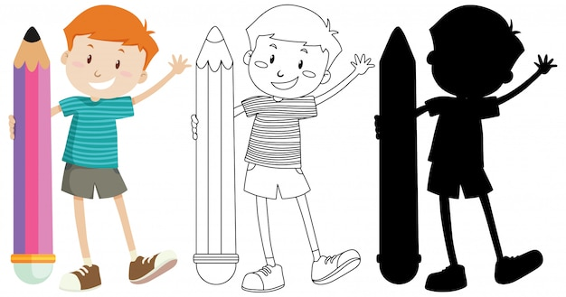 Boy holding big pencil in colour and outline and silhouette