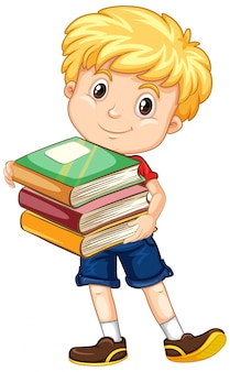 分離された本を持つ男の子