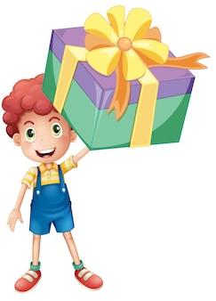 Мальчик держит коробку настоящего