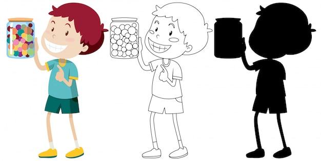 Мальчик держит банку с конфетами в цвете, контуре и силуэте