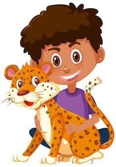 Мальчик держит милый мультипликационный персонаж животных, изолированные на белом фоне