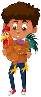 Boy holding cute animal cartoon character isolated