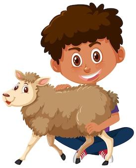 Мальчик держит милый животных мультипликационный персонаж изолированы